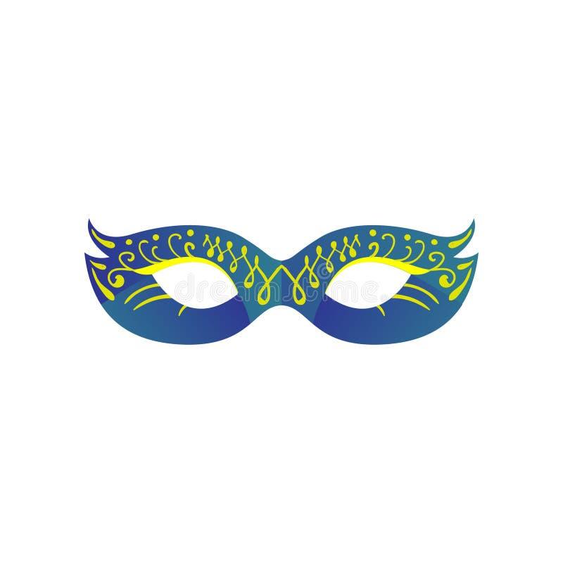 Karnevalögonmaskering i blå lutningfärg med prydnaden stock illustrationer