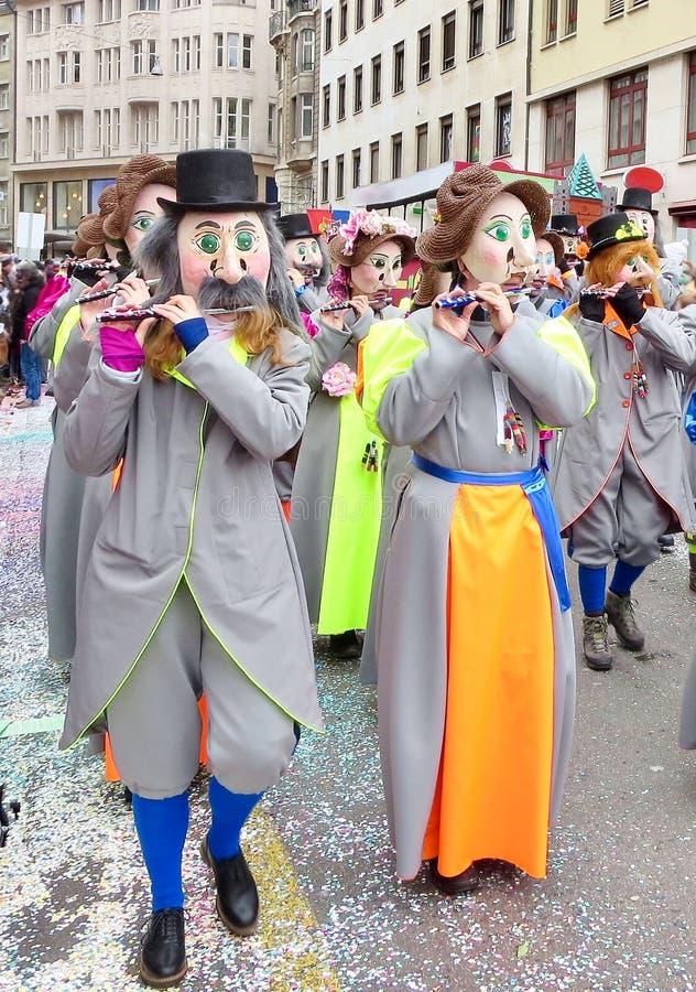 Karneval av Baseln - flöjtist arkivbild