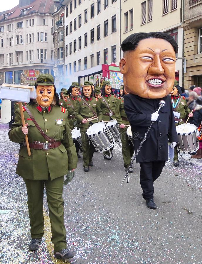 Karneval av Baseln - Kim Jong-FN royaltyfria foton