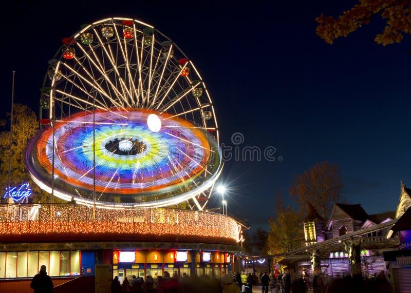 Karneval av ljus på det Linnanmaki nöjesfältet arkivbilder