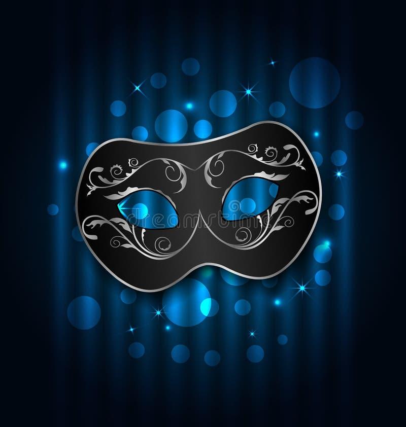 Karneval- eller teatermaskering på blå skimrande bakgrund stock illustrationer