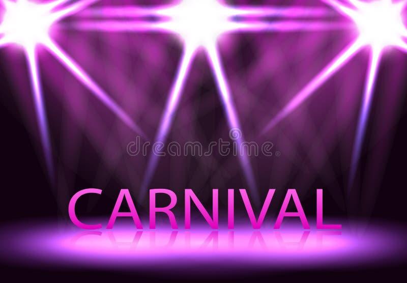 Karneval festival, show Etappbelysning, ett podium, vektor illustrationer