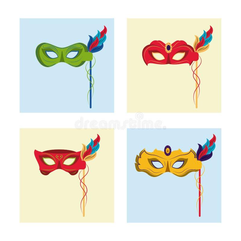Karneval maskiert Ikonen stock abbildung