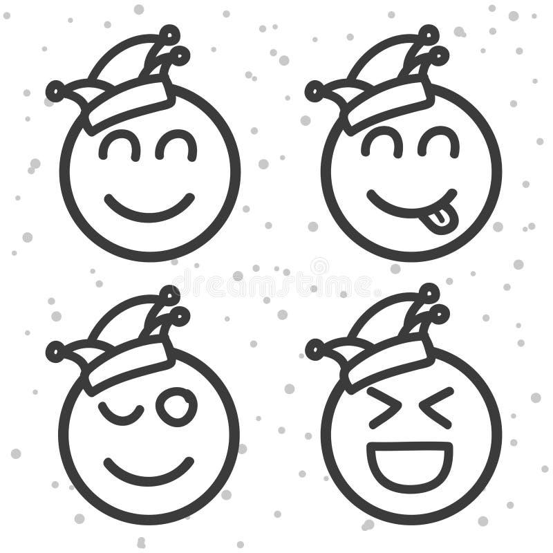Karneval Smileys De Reeks van Rosenmontagemoticons stock illustratie