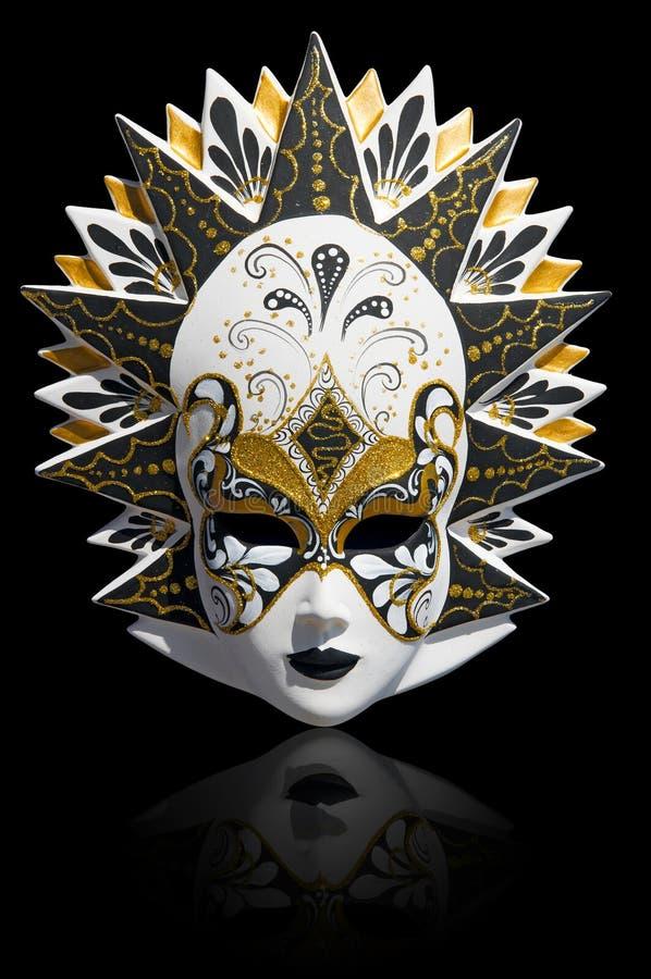 karneval venetian isolerad maskering arkivfoto
