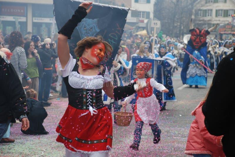karneval zurich arkivfoto