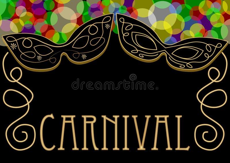 Karnevalbakgrund, maskering som dekoreras med den guld- prydnaden, överlappande kulöra ljus i överkanten, guld- antik inskrift stock illustrationer