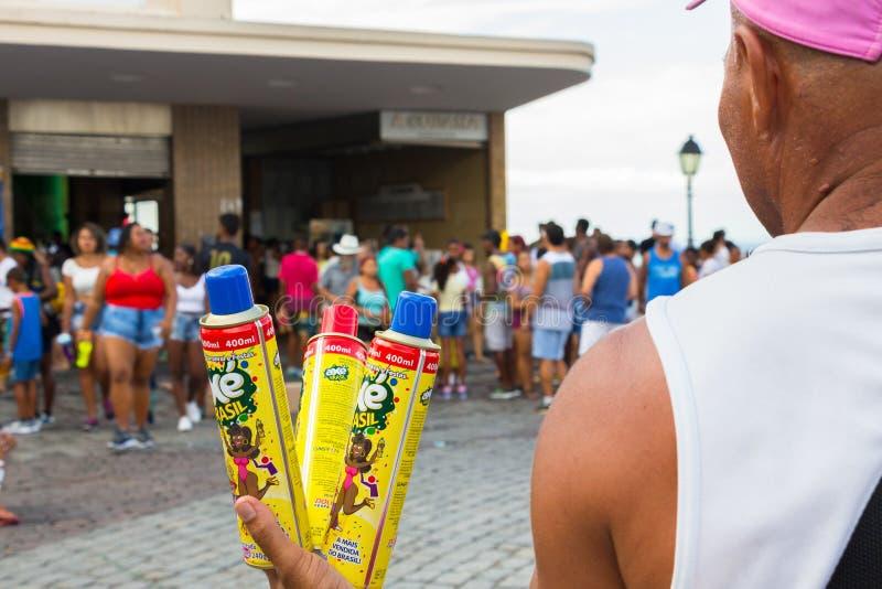 Karnevalberöm på Pelourinho i Salvador Bahia, Brasilien royaltyfria bilder