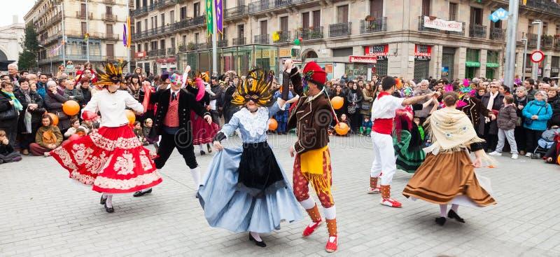 Karnevalbollar till den populära kulturen och den traditionella catalanen arkivfoto