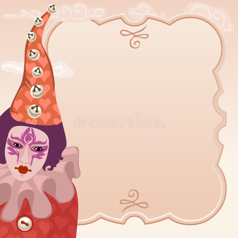 Karnevalclown med ramen stock illustrationer