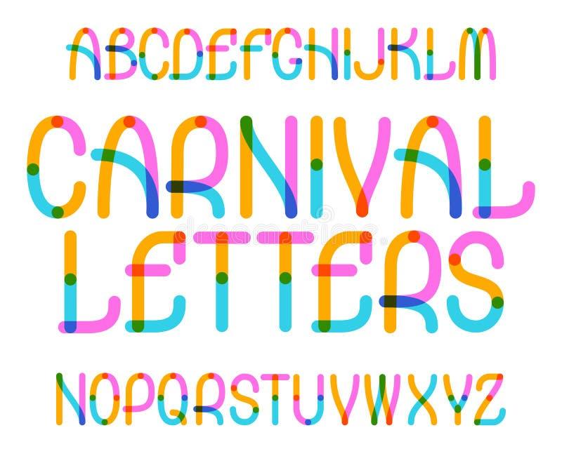 Karnevalet märker stilsort Färgrik stilsort Isolerat engelskt alfabet stock illustrationer