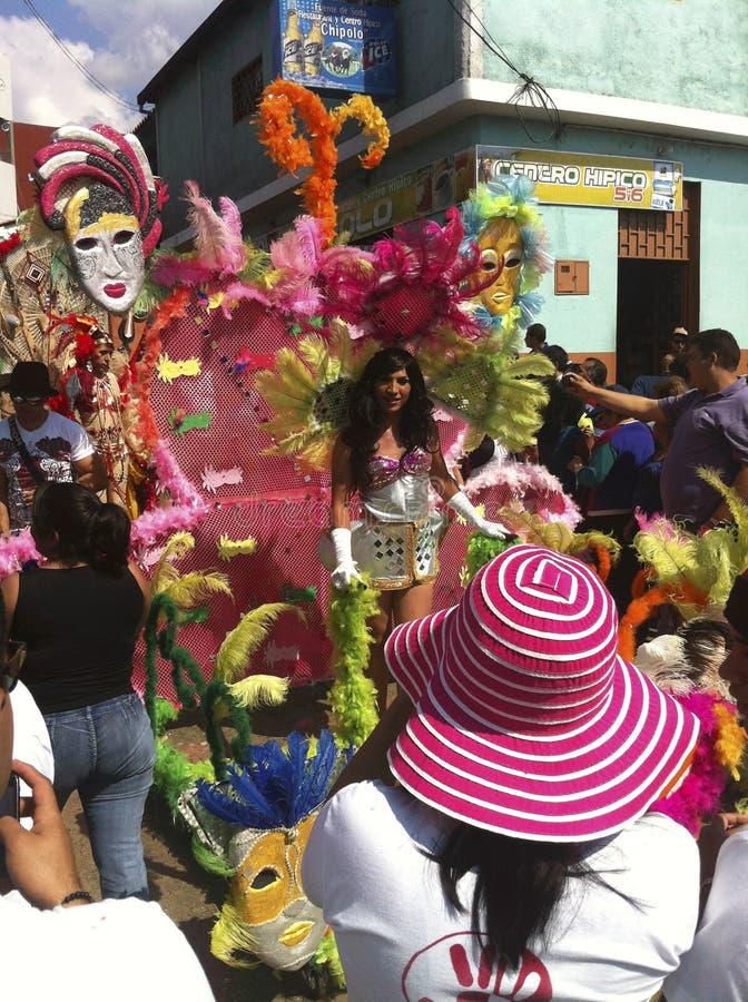 Karnevalet ståtar i Bocono, Venezuela arkivfoton