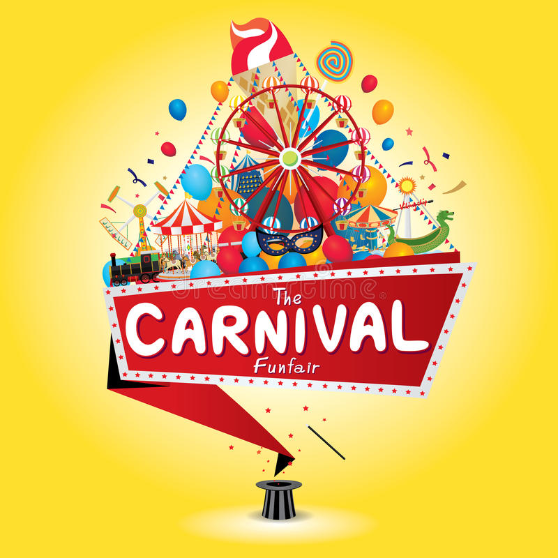 Karnevalfunfair stock illustrationer
