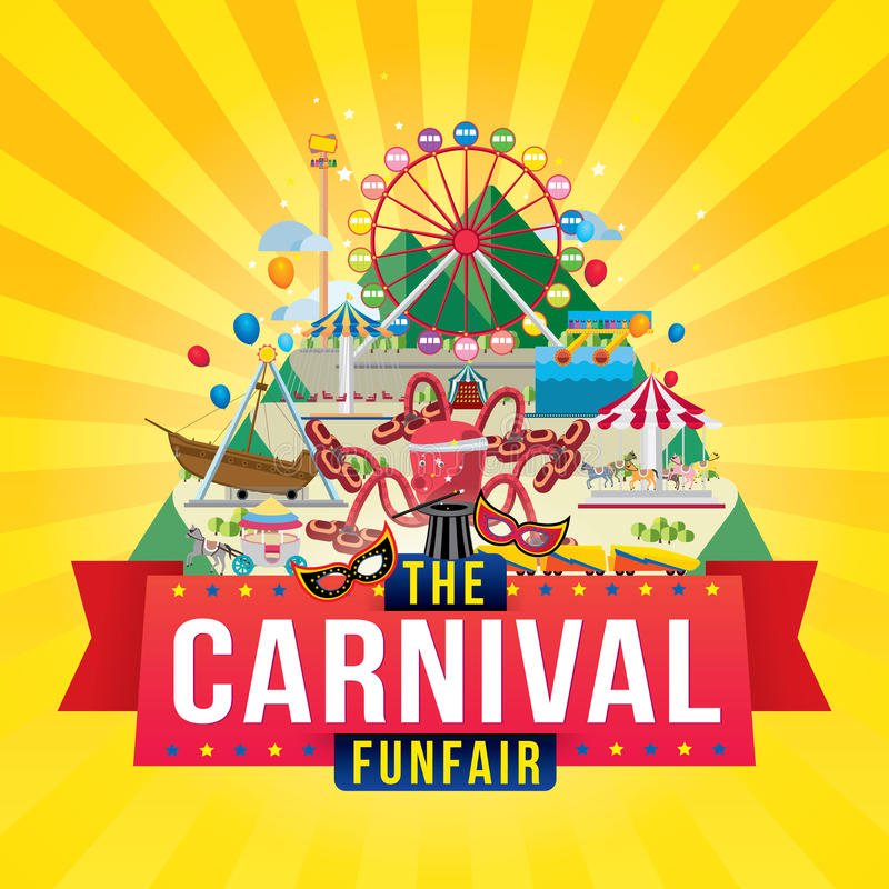 Karnevalfunfairdesign stock illustrationer