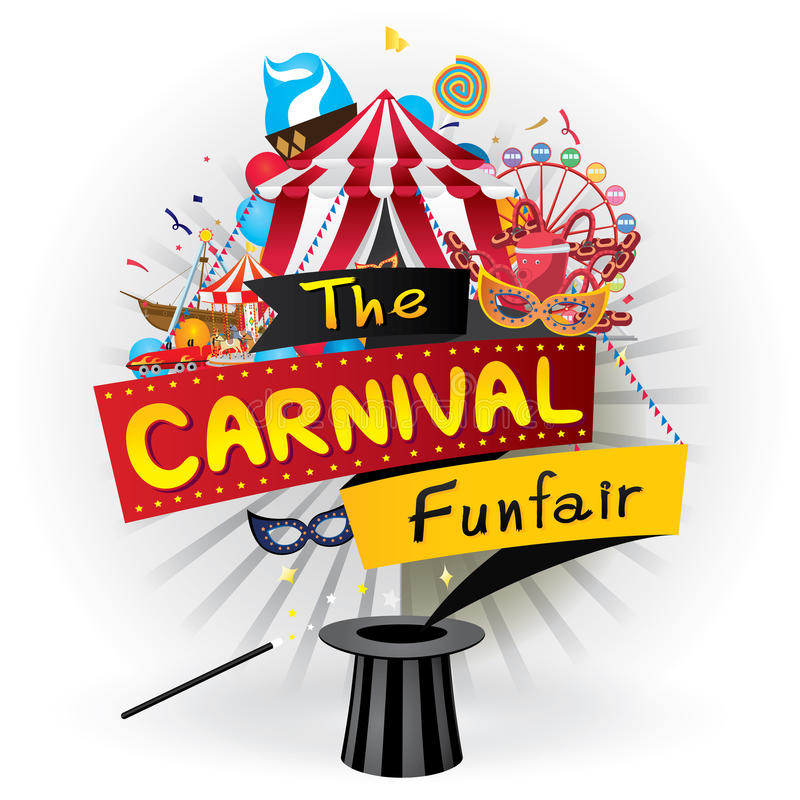 Karnevalfunfairen vektor illustrationer