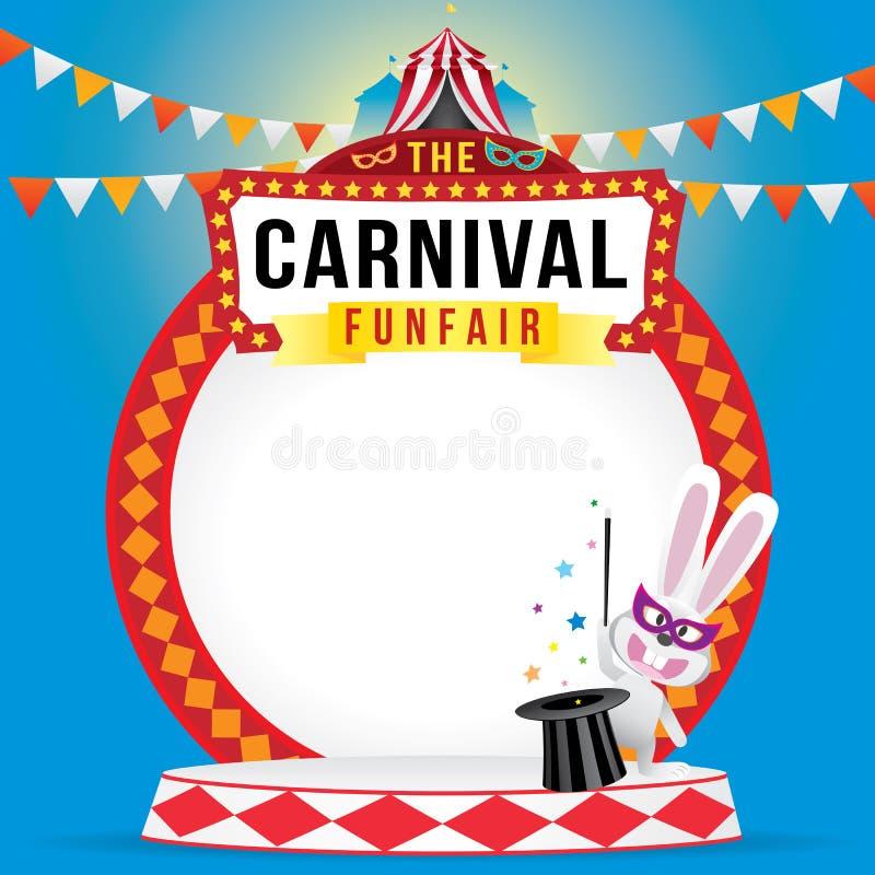 Karnevalfunfairen och den magiska showen stock illustrationer