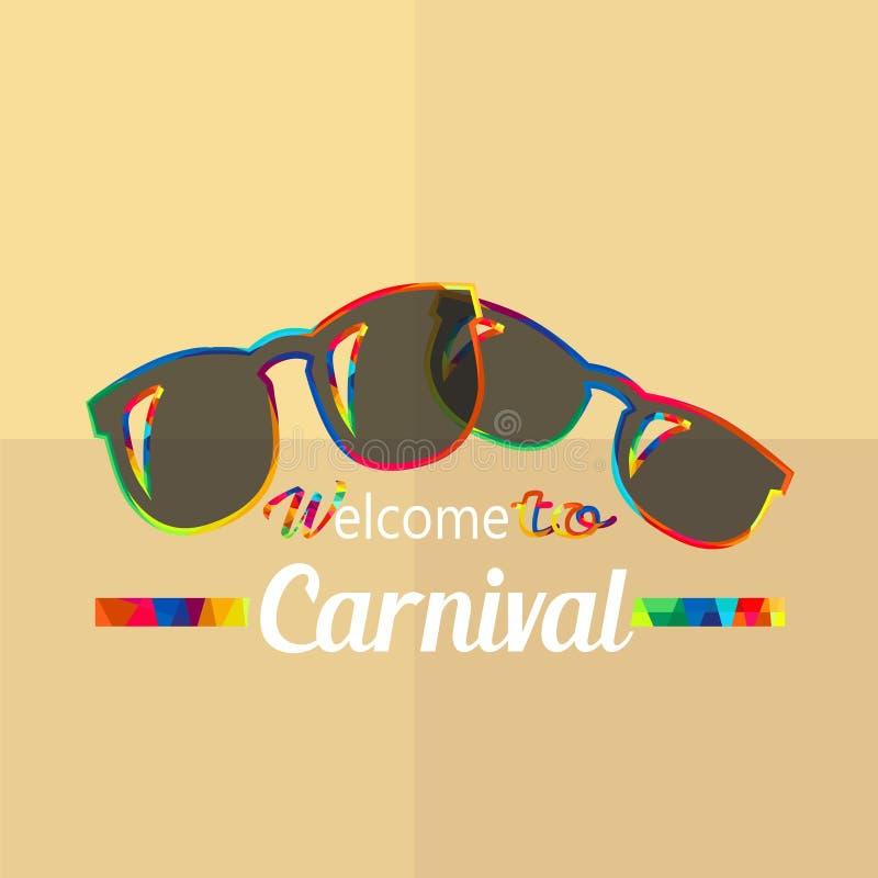 Karnevalfunfairen och den magiska showen royaltyfri illustrationer