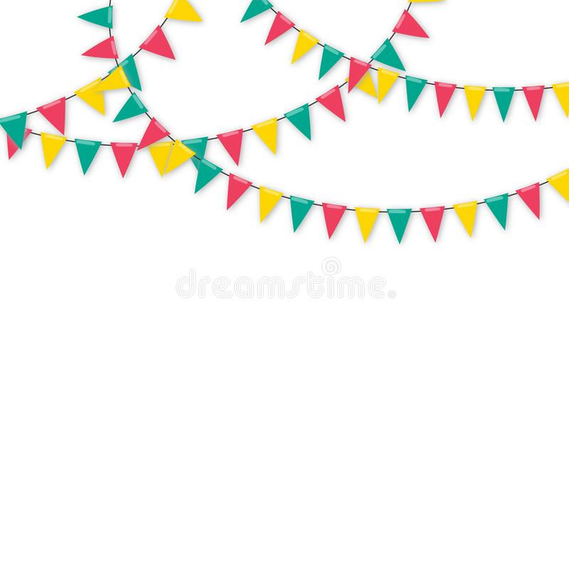 Karnevalgirland med flaggor royaltyfri illustrationer