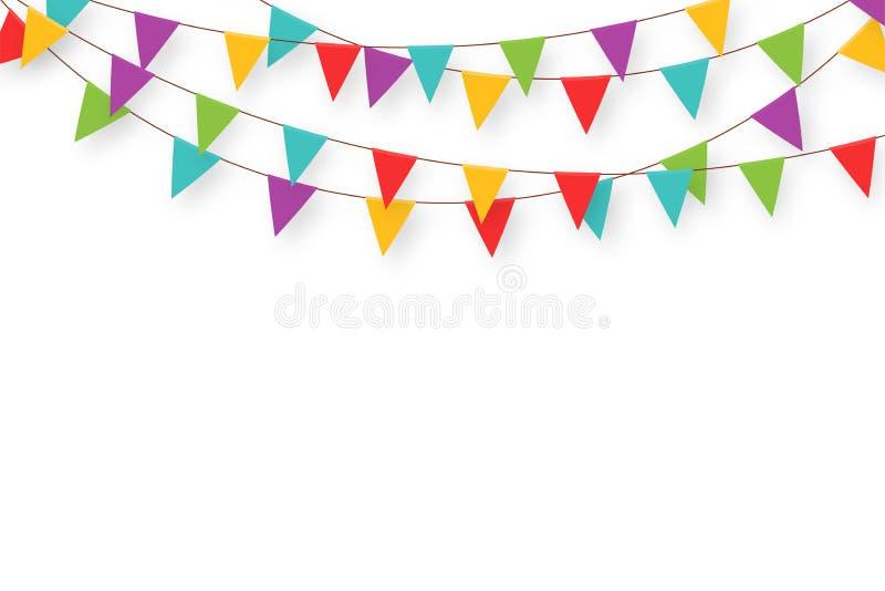 Karnevalgirland med flaggor Dekorativa färgrika partistanderter för födelsedagberöm-, festival- och mässagarnering stock illustrationer