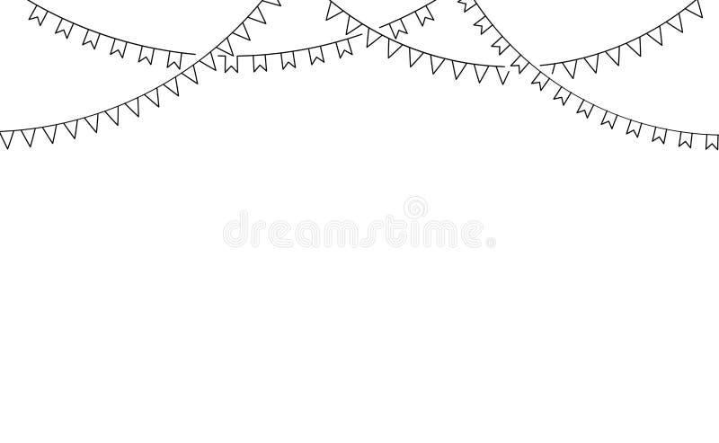 Karnevalgirland med flaggor Dekorativa svartvita partistanderter vektor illustrationer