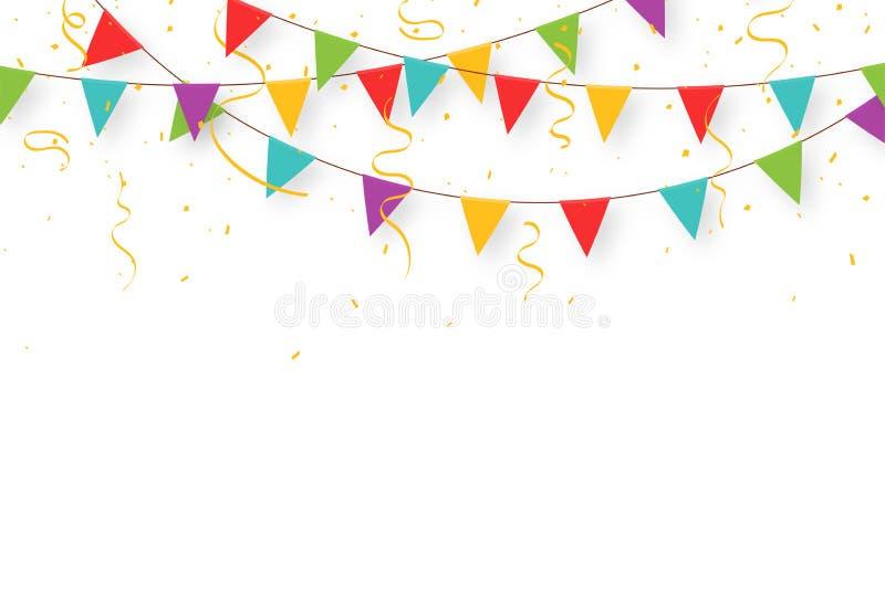 Karnevalgirland med flaggor, konfettier och band Dekorativa färgrika partistanderter för födelsedagberöm
