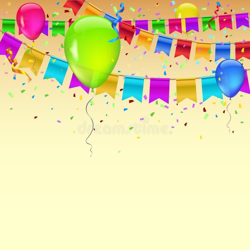 Karnevalgirland med standerter, konfettier och flygaballonger Dekorativa färgrika flaggor för födelsedag, festival och mässa royaltyfri illustrationer