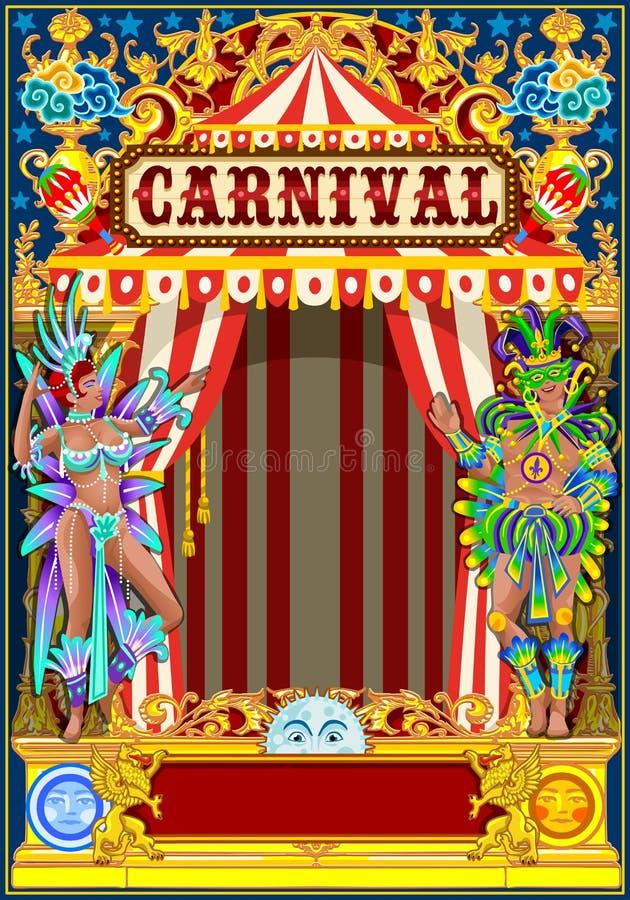 Karnevalguld och röd affisch royaltyfri illustrationer