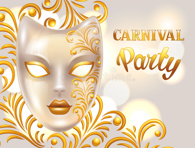 Karnevalinbjudankortet med den venetian maskeringen dekorerade guld- prydnader Berömpartibakgrund vektor illustrationer