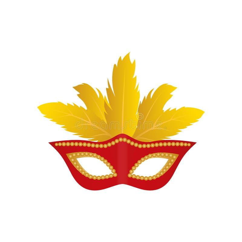 Karnevalmaskeringen med colden den fjädrar isolerade symbolen Rött färga vektor isolerat stock illustrationer