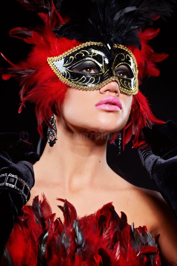 karnevalmaskeringskvinna arkivbilder