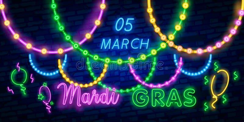 Karnevalpartiet är uppsättningen av affischer i neonstil neontecken, designmall, broschyr, glödande affisch Ljus neonannonsering  stock illustrationer