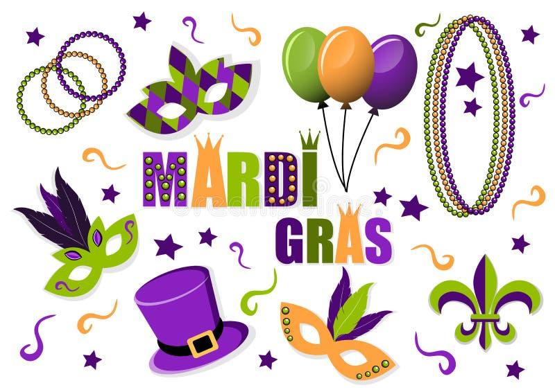 Karnevals-Mardi Gras-Satz Vektorikonen schablonen Hut ballone korne Fleur de Lis Mardi Gras Karneval Faschingsdienstag lizenzfreie abbildung