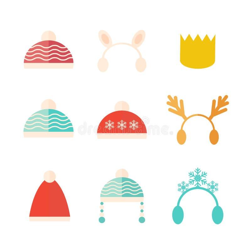 Karnevals-Weihnachtshut-Vektorsatz lokalisiert lizenzfreie abbildung