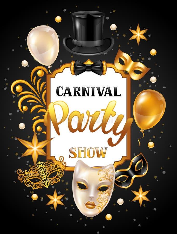 Karnevalseinladungskarte mit Goldmasken und -dekorationen Feierparteihintergrund lizenzfreie abbildung