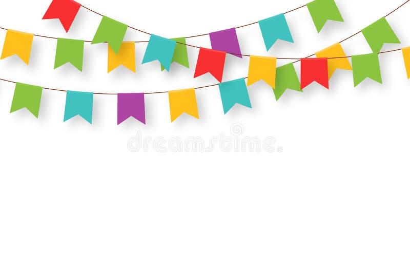 Karnevalsgirlande mit Flaggen Dekorative bunte Parteiwimpel für Geburtstagsfeier, Festival und angemessene Dekoration lizenzfreie abbildung