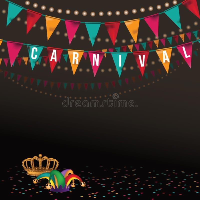 Karnevalshintergrund mit Kronenspaßvogelhut und -flaggen lizenzfreie abbildung