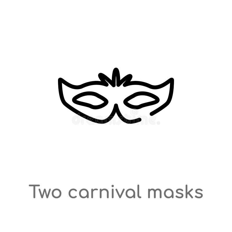 Karnevalsmasken-Vektorikone des Entwurfs zwei lokalisiertes schwarzes einfaches Linienelementillustration vom Modekonzept Editabl stock abbildung