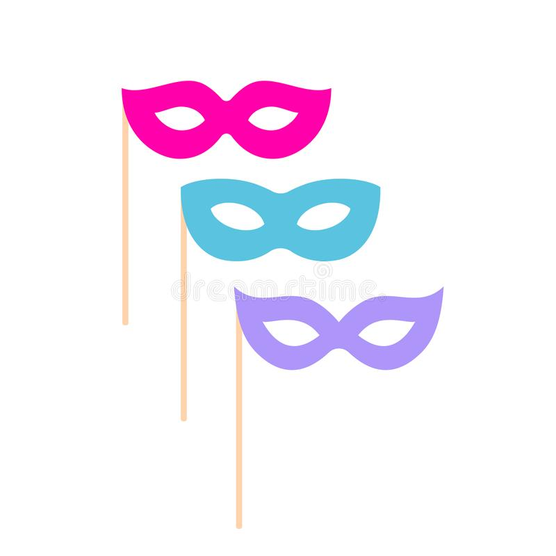 Karnevalsmasken-Vektorikone stock abbildung