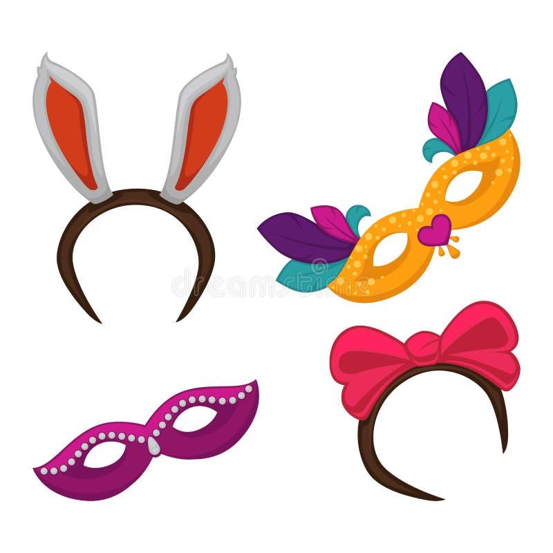 Karnevalsmaskerade oder Halloween-Parteikostümelemente und -masken vektor abbildung