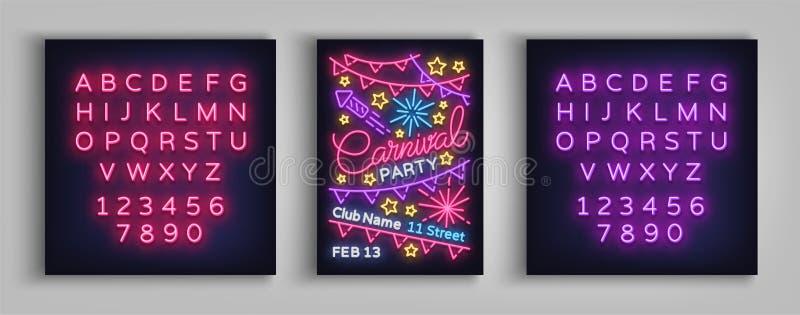 Karnevalsparteiplakat in der Neonart Leuchtreklame, Designschablone, Broschüre, Nachthelles Plakat Helle Neonwerbung lizenzfreie abbildung