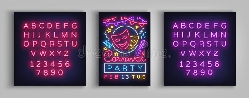 Karnevalsparteiplakat in der Neonart Leuchtreklame, Designschablone, Broschüre, Nachthelles Plakat Helle Neonwerbung stock abbildung