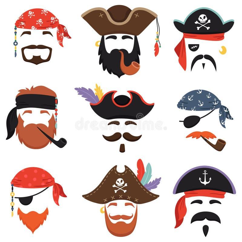 Karnevalspiratenmaske Lustiges Meer kapert Hüte, Reise Bandana mit Dreadlocks Haar und Schornstein lokalisierten Maskenvektor lizenzfreie abbildung