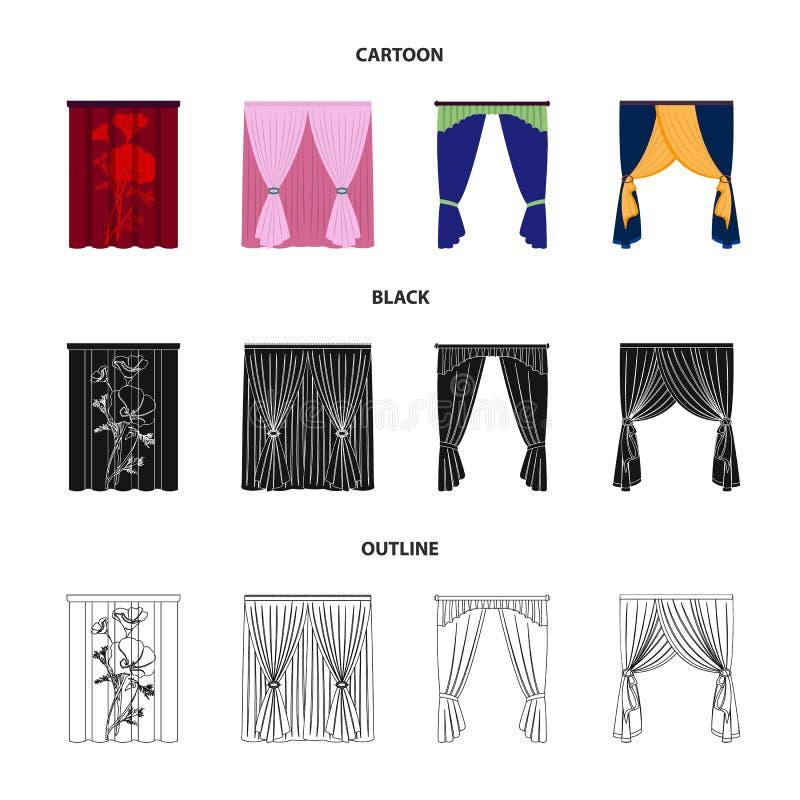 Karnisze, podwiązki, faborek i inna sieci ikona w kreskówce, czerń, konturu styl Maszyna, tkaniny, meblarskie ikony w secie ilustracji