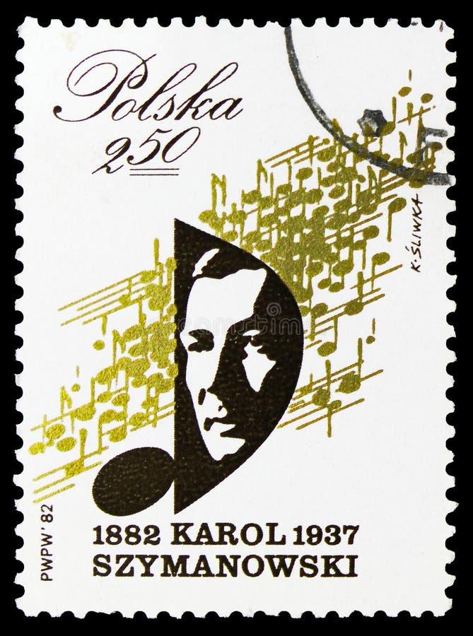 Karol Szymanowski kompositör (1882-1937), serie, circa 1982 vektor illustrationer