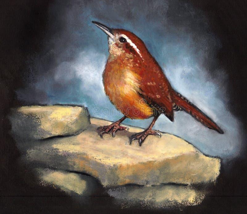 Karolina strzyżyk, ptak Umieszczający na skałach, Nafciana Pastelowa sztuka obraz stock