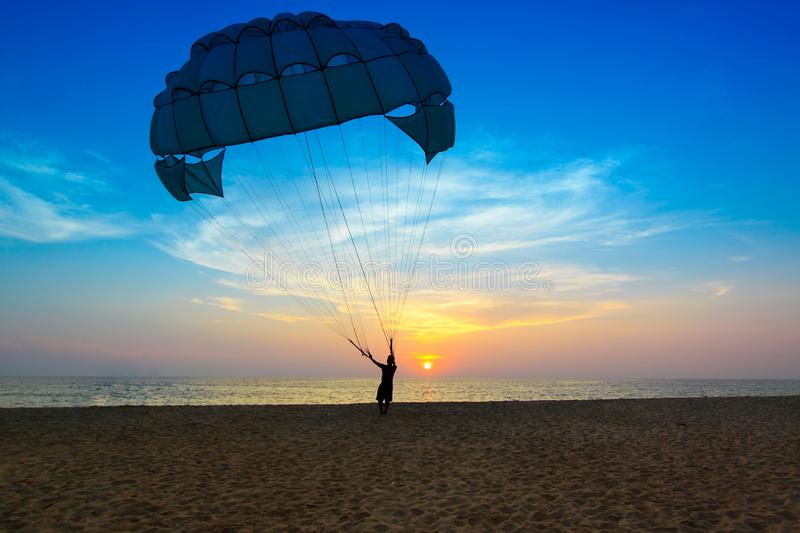 Paratroops and view of Andaman ocean,PhuKet,Thailand royalty free stock photography