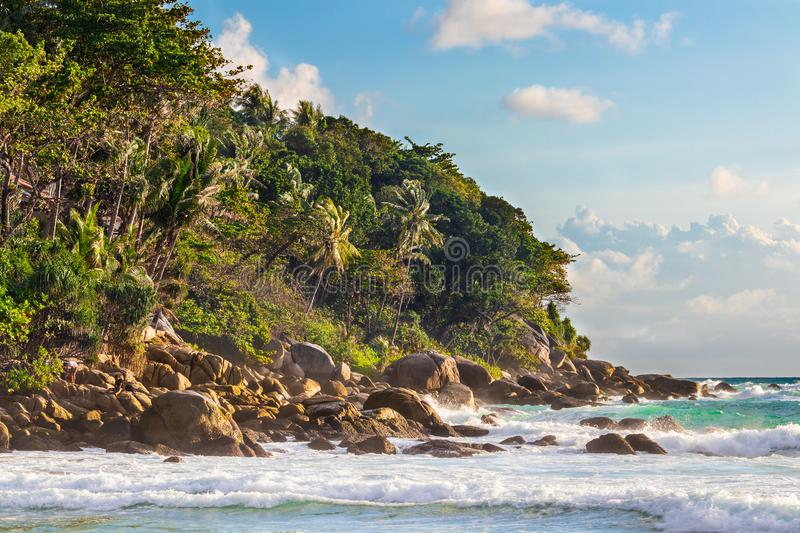 Karon beach. Rocks at Karon beach in Phuket, Thailand royalty free stock image