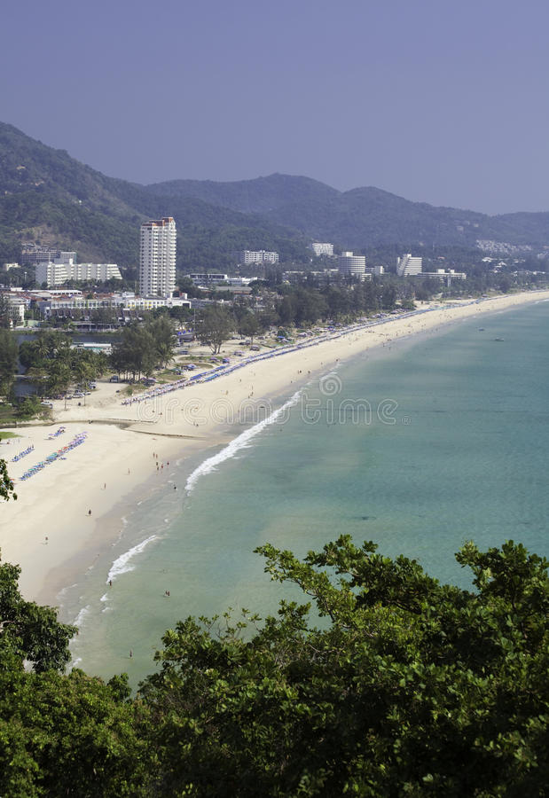 Karon Beach, Thailand. Ariel view of Karon Beach, Thailand on a hot hazy day stock images