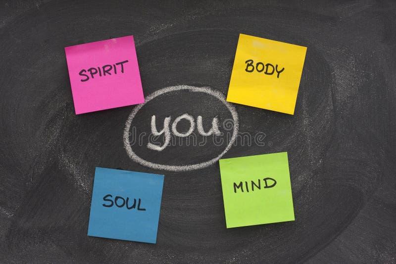 Karosserie, Verstand, Seele, Spiritus und Sie stockfoto