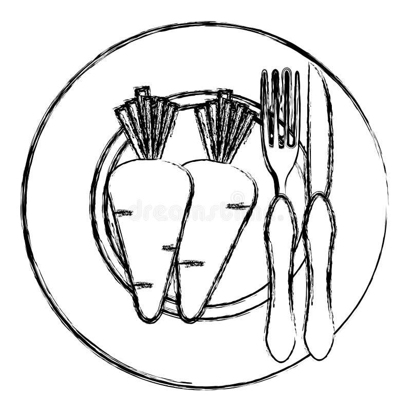 Karotte im Teller mit Gabel und Messer vektor abbildung